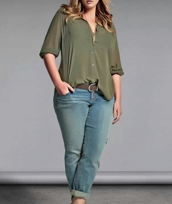 Plus Size Olive Green Tops