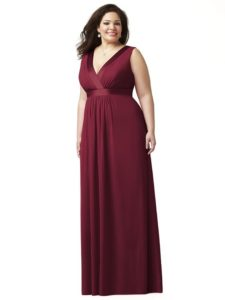 Bridesmaid Burgundy Dresses in Plus Size