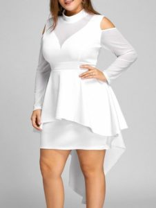High Low White Dresses Plus Size