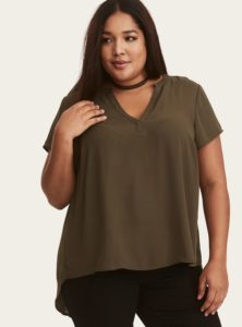 Olive Green Top in Plus Size