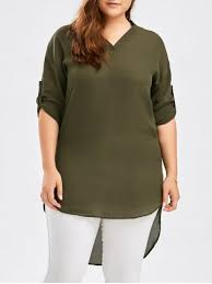 Olive Green Tops Plus Size