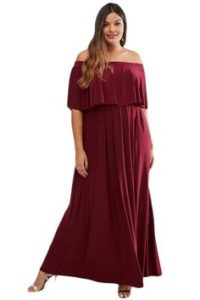 Plus Size Burgandy Bridesmaid Long Dresses