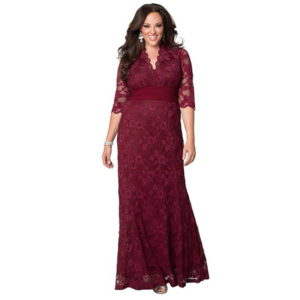 Plus Size Burgundy Bridesmaid Dress