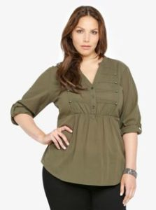 Plus Size Military Olive Green Tops