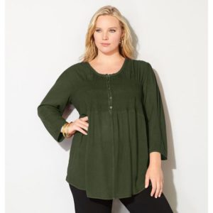 Plus Size Olive Green Top Blouse