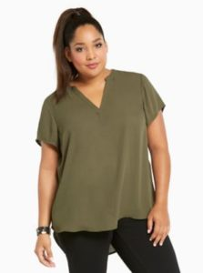 Plus Size Olive Green Tops Women