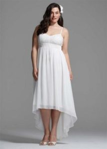 Plus Size White High Low Bridesmaid Dresses