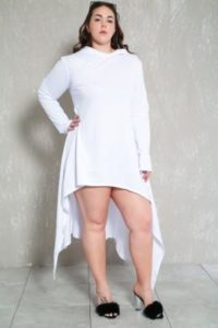 Plus Size White High Low Dress