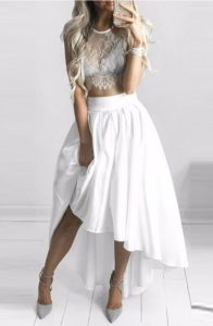 Plus Size White High Low Dresses