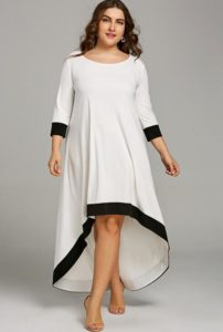 Plus Size White High Low Maxi Dresses