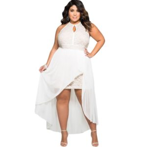 Plus Size White High Low Prom Dresses