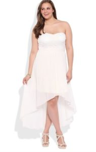 Plus Sized White High Low Dress