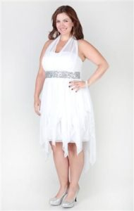 Plus Sized White High Low Dresses