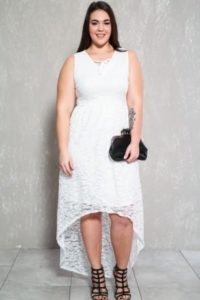 White High Low Dresses Plus Size
