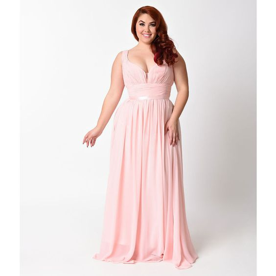 Most Stunning Plus Size Blush Bridesmaid Dresses