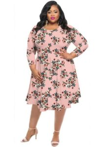 Cheap Floral Dress with Sleeves for Plus Size