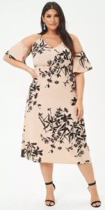 Floral Dress Sleeves for Plus Size Open Shoulder