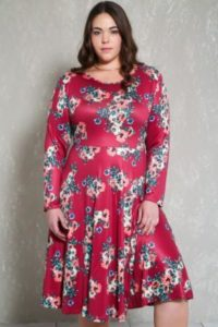 Floral Dress with Long Sleeves for Plus Size