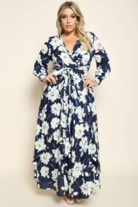 Floral Dress with Sleeves Plus Size
