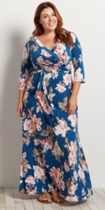 Floral Maxi Wrap Dress Plus Size