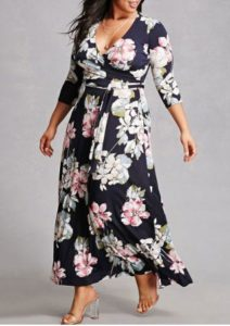 Long Sleeves Floral Maxi Dress Plus Size