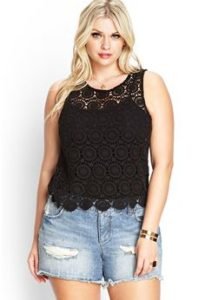 Plus Size Black Crochet Tops