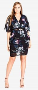 Plus Size Floral Dress Knee Length with Sleeves
