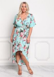 Plus Size Floral Hi Low Maxi Dress