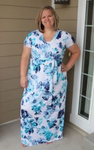 Plus Size Floral Maxi White and Blue