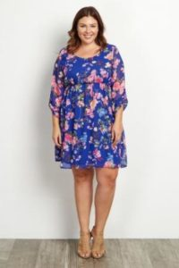 Plus Size Short Floral Dresses with Sleeves