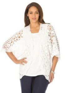 Plus Size White Crochet Tops