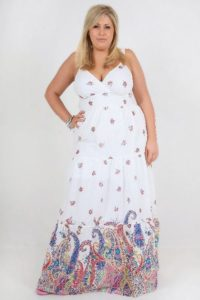 White Plus Size Floral Maxi Dresses