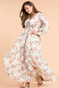 Women's Plus Size Floral Dress with Sleeves
