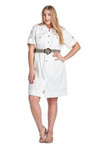 Plus Size White Shirt Dress