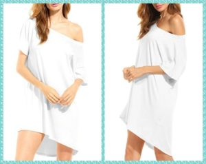 Plus Size White t shirt Dress