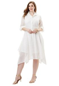 Plus size white shirt dresses