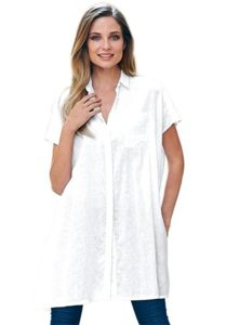 Women's Plus Size White Dress Shirt
