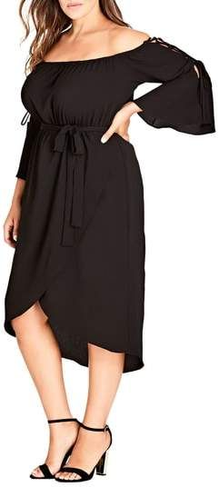 Black Off Shoulder Dress Plus Size