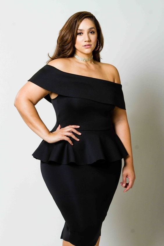 Black Off-The-Shoulder Dress Plus Size