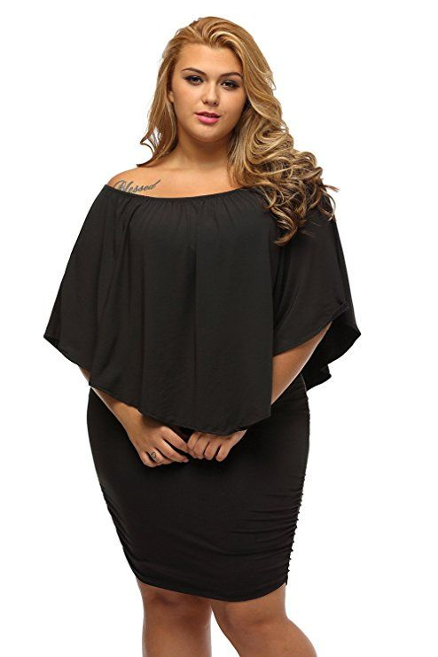 Black Off The Shoulder Dress Plus Size