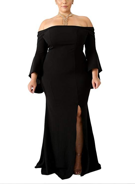 Black Off The Shoulder Dress Plus Sizes