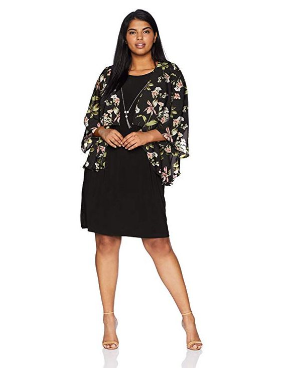 Black Plus Size Jacket Dress for Women