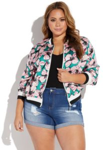 Bomber Jacket Floral Plus Size