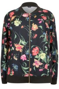 Plus Size Floral Bomber Jacket