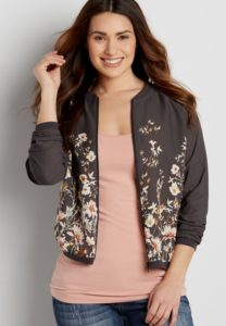 Bomber Jacket in Floral Print Plus Size
