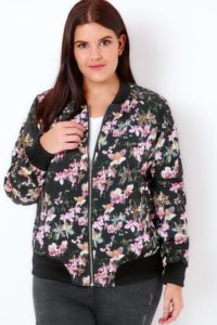 Floral Bomber Jacket in Plus Size