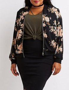 Floral Bomber Jacket in Plus Sizes
