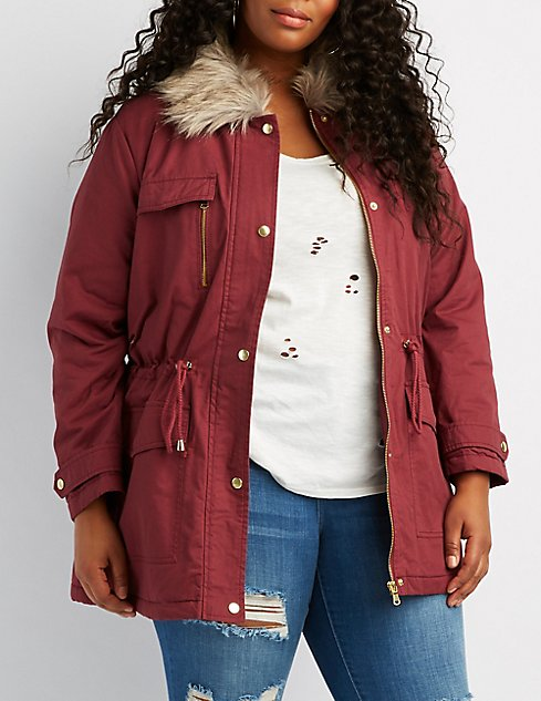 Fur Hood Jacket In Plus Size