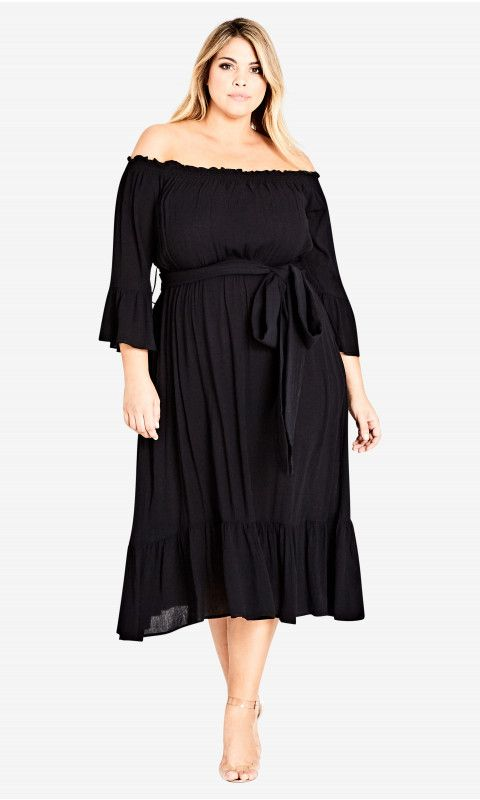 Long Black Off The Shoulder Dress Plus Size
