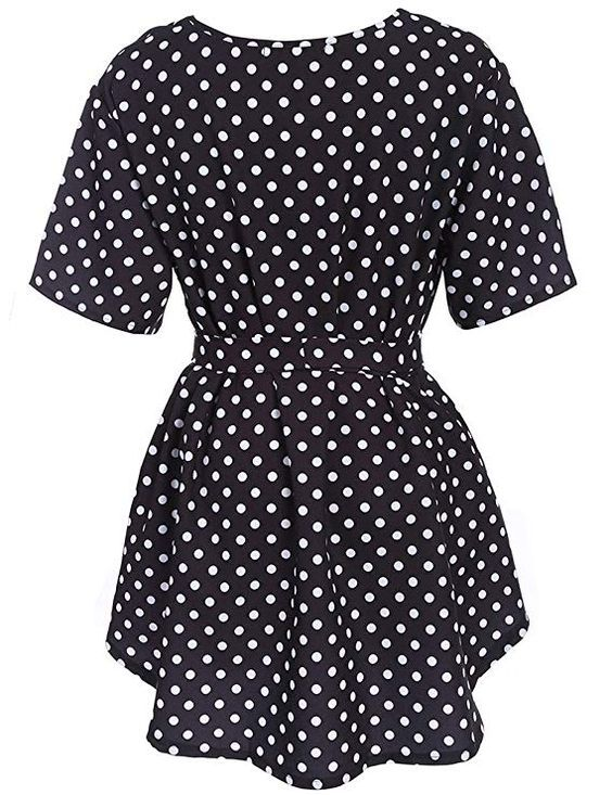 Navy Blue Plus Size Polka Dot Blouse